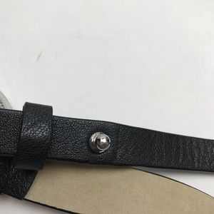 Chico's Accessories - Chico's Leather Engraved Round Buckle Black Belt